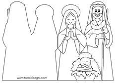 Biglietto con la Sacra Famiglia presepe - TuttoDisegni.com