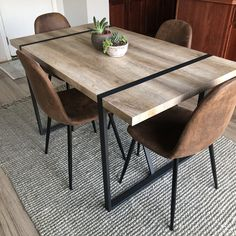Dining Table With Bench, Modern Dining Room Tables, Dining Room Sets, Dining Table In Kitchen, Home Decor Kitchen, Room Kitchen, Midcentury Modern Dining Table, Mid Century Dining Table, Modern Kitchen Tables