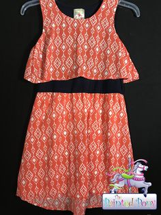 Girls size 12 dress by Jenna & Jessie, coral and white pattern, $16.99