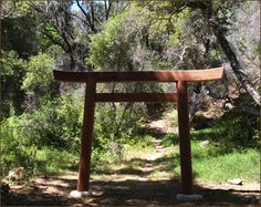 Tassajara Hot Springs, CA. A torii gate was built to mark the path leading to the onsite ashes of the late Shunryu Suzuki Roshi, founder of the Kannon Do, San Francisco Zen Center (SFZC) and Tassajara.