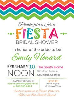 Fiesta Bridal Shower Invitations, Mexican Wedding Shower Invite ...