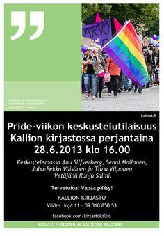 Kirjasto goes little Gay'ish, pe 28.6 klo 16. Auta kirjastoa viestinnässä, tulosta A4-juliste ja laita se esille:
