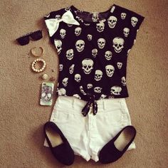 Skull. Alternative fashion. Love everything but the bow on the top, it just sets the outfit off
