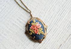 Embroidered silk pendant