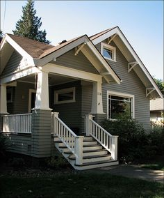 Craftsman Bungalow – Forest Grove cute house i think i would like this :] Brown Roof Houses, Brown Roofs, House Roof, Grey Houses, Garage House, Craftsman Exterior, Craftsman Style Homes, Craftsman Bungalows, Craftsman Houses