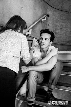 Andrew is even adorable when having his make-up tended to.