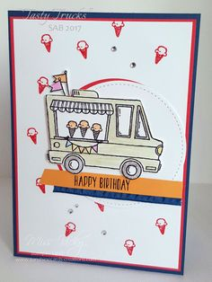 SAB 2017, Birthday Card, Stamp Set - Tasty Trucks, Free Tutorial - https://sunshinecards-creations.com/2016/12/29/happy-birthday-27/ Stampin' Up!