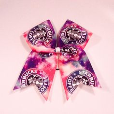 """Galaxy Starbucks Cheer Bow - Chicago Cubs Thermal Print on Grosgrain Ribbon - 7"""" across by 8"""" down - Purchase 1 or more - Ask for pricing for team orders"""
