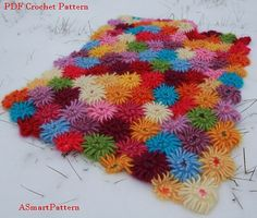 PDF Crochet Pattern-Crochet Dahlia Garden Blanket,Afghan,Bedspread,Throw by ASmartPattern,Instant Download PDF file.