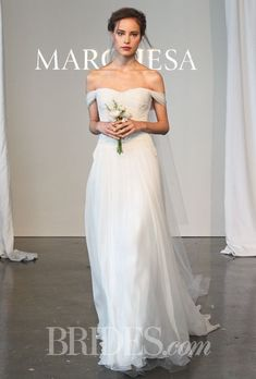 Grecian-Inspired Off-the-Shoulder Silk Chiffon A-Line Marchesa Wedding Dress - Spring 2015 Collection #weddingdress