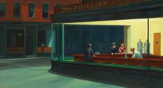 "Looking through the windows of Edward Hopper's artistic Phillie's Diner in ""Nighthawks"", 1942"