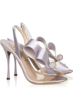 Nicholas Kirkwood Swarovski crystal-embellished PVC and satin slingbacks. Come see more pastels here: http://www.wantering.com/womens-clothing/pastels/