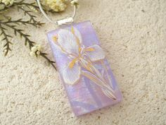 Lavender Iris Necklace Fused Glass Jewelry Dichroic by ccvalenzo