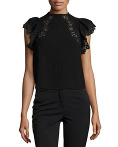 Lace-Trim+Cap-Sleeve+Crepe+Top+by+Rebecca+Taylor+at+Neiman+Marcus.