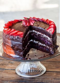 5 Layer Chocolate Cake with Mixed Berry and Cream Cheese Filling perfect for a special occasion or just because! Let's eat cake!