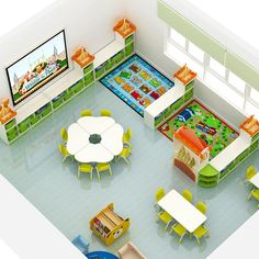 Daycare Room Design, Daycare Rooms, School Library Design, Kids Daycare, Home Daycare, Playroom Design, Preschool Classroom Layout, Preschool Cubbies, Preschool Tables