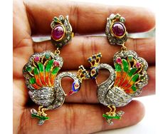 Peacock .925 Sterling Silver Victorian Inspired 2.50Ctw Diamond Rose Cut Earrings by VineetaJewels on Etsy