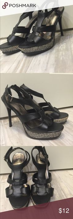 Black strappy sandal heels Black leather strappy heels Wild Diva Shoes Heels