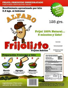 """"""" Frijolisto """". Frijol Deshidratado."""