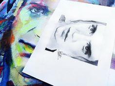 Watercolor art, canvas painting originals portraits Brian Molko |Placebo Artist - Vera Alive Portrait