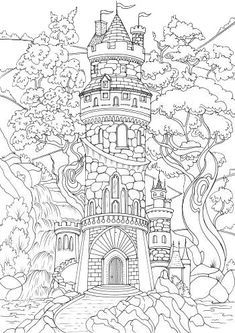 Fortress - Printable Adult Coloring Page from Favoreads (Coloring book pages for adults and kids, Coloring sheets, Colouring designs) Detailed Coloring Pages, Printable Adult Coloring Pages, Disney Coloring Pages, Free Coloring Pages, Coloring Sheets, Coloring Books, Kids Coloring, Coloring Pages For Adults, Castle Coloring Page