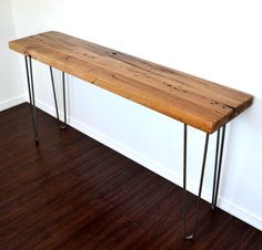 """SALE ITEM WAS 429.00 Console Table 60"""" Distressed Chestnut Topper Finished On Steel Hairpin Legs Coffee Table, End Table, Side Table"""