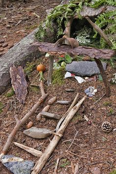 Build fairy houses in the woods for kids and young at heart!