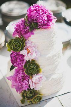 Succulent and Peony Wedding Cake