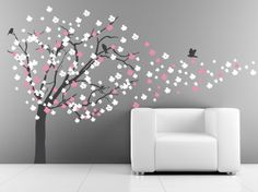 The Decal Lab - Tree Wall Decal with Cherry Blossoms Blowing in the Wind, $109.00 (http://www.decallab.com/tree-wall-decal-with-cherry-blossoms-blowing-in-the-wind/)