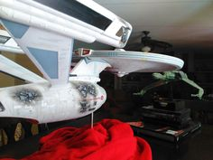 1/350 scale Polar Lights USS Enterprise Refit model - battle damage