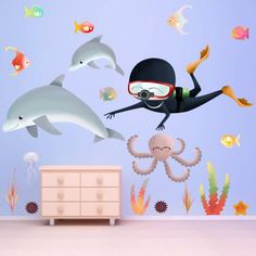 Mural Sticker Autocollant CHAMBRE Enfant Mer Monde sous-marin dauphin XL #50
