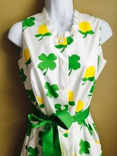 Vintage-The-Vested-Gentress-Clover-Shamrock-Irish-St-Pats-Day-Dress-Sz-8