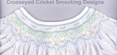 Smocking plate with easy to smock geometric pattern great for a daygown. 5 rows of smocking on a bishop. Smocking Plates, Smocking Patterns, Crochet Projects, Sewing Projects, Baby All In One, Smocking Tutorial, Tissue Paper Flowers, Heirloom Sewing, Little Girl Outfits
