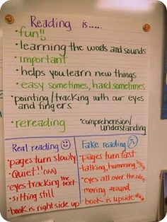 real reading vs. fake reading...so need to do this lesson.