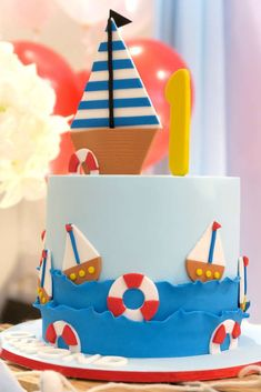Take a look at the fun birthday cake at this Nautical 1st birthday party!! It's so cute!! See more party ideas and share yours at CatchMyParty.com #cake #nautical