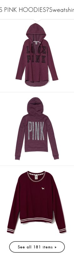 """VS PINK HOODIES?Sweatshirts"" by darkstormsinmymind ❤ liked on Polyvore featuring tops, sweaters, hoodies, outerwear, purple pullover, victoria secret tops, layered sweater, slouch sweater, pullover sweater and victoria's secret"