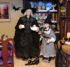 Miniature Witch Witch with her young apprentice granddaughter. 1:12 scale dolls made by Karin Smead