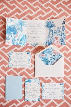 A Wedding Weekend Under Palm Trees and Stars at the Lyford Cay Club - Vogue Floral Wedding Invitations, Wedding Stationary, Stationary Design, Watercolor Invitations, Menu Design, Design Design, Invites, Logo Design, Wedding Weekend