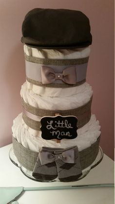 Boy Diaper Cake Little Man Baby Shower Grey by ItsUpInTheAttic