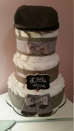 Boy Diaper Cake Little Man Baby Shower Grey by ItsUpInTheAttic