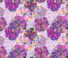 Pink and Violet Floral with Ikat fabric by bloomingwyldeiris on Spoonflower Fabric