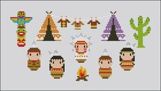 Little Indians Village Cross stitch PDF pattern by cloudsfactory
