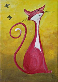 Original Cat Painting for Sale : Fantasy Cats  Puzzled Cat in Red