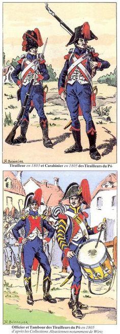 Tirailleur en 1803 et carabinier en 1805 Tirailleurs du Pô Officier et tambour des tirailleurs du Pô en 1805