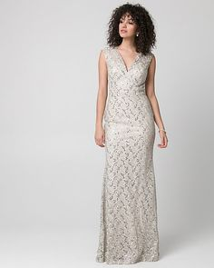 Sequin   Lace V-Neck Gown - Steal the spotlight in a long fd8939f98cf2
