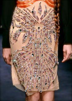 Miu Miu - details jeweled skirt on neutral/nude chiffon
