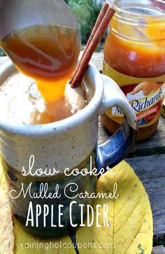 mulled caramel1 Slow Cooker Mulled Caramel Apple Cider Recipe