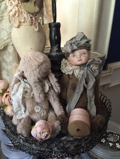 Vintage doll bear and tiny elephant - by olive grove primitives
