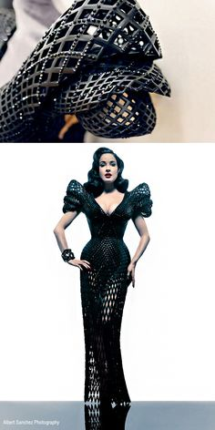"""Francis Bitonti Studio Collaborated with Michael Schmidt Studios and Shapeways a fully articulated 3D printed gown designed specifically for Dita Von Teese. The gown has nearly 3000 unique articulated joints and is adorned with over 12,000 Swarovski crystals"" narrative from http://francisbitonti.com/Dita-s-Gown  Photo: Albert Sanchez"