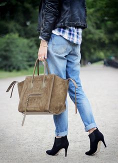boyfriend jeans - leather jacket - plaid